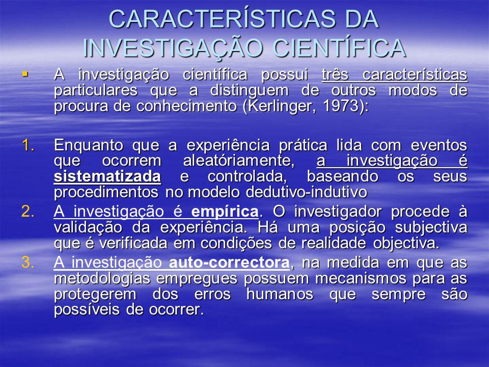 CARACTERÍSTICAS DA INVESTIGAÇÃO CIENTÍFICA