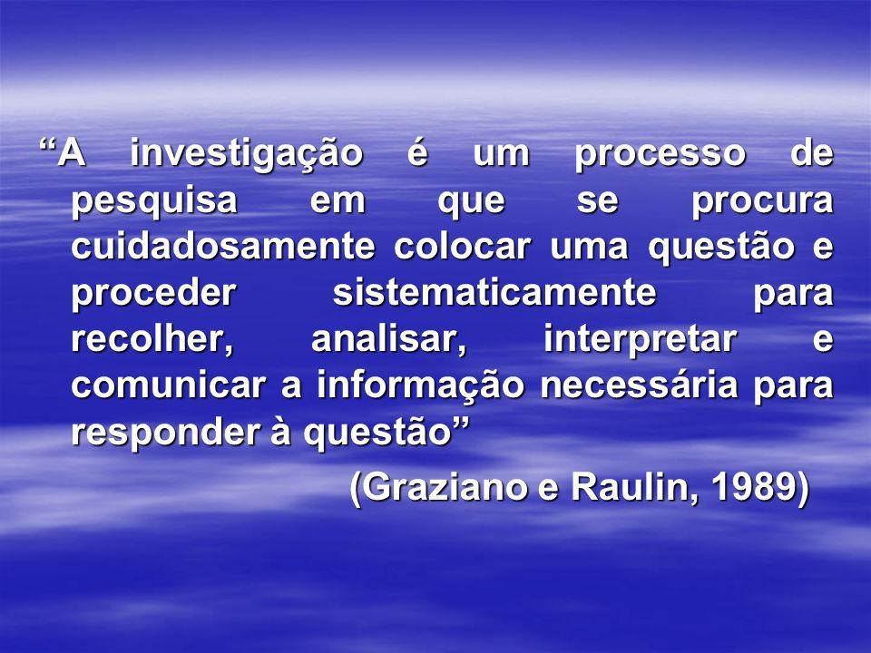 A investigação é um processo de pesquisa em que se procura cuidadosamente colocar uma questão e proceder sistematicamente para recolher, analisar, interpretar e comunicar a informação necessária para responder à questão