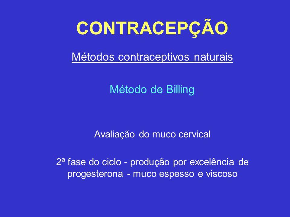 CONTRACEPÇÃO Métodos contraceptivos naturais Método de Billing