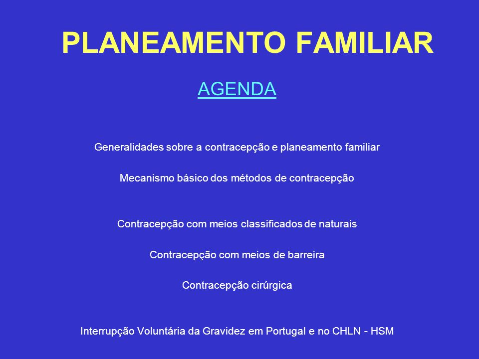 PLANEAMENTO FAMILIAR AGENDA