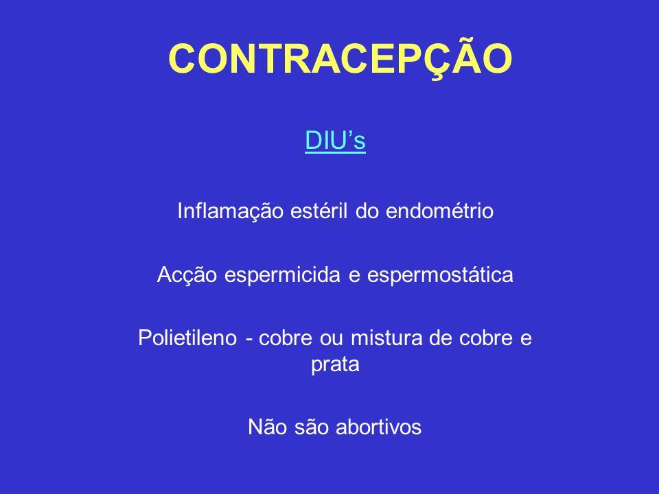 CONTRACEPÇÃO DIU's Inflamação estéril do endométrio