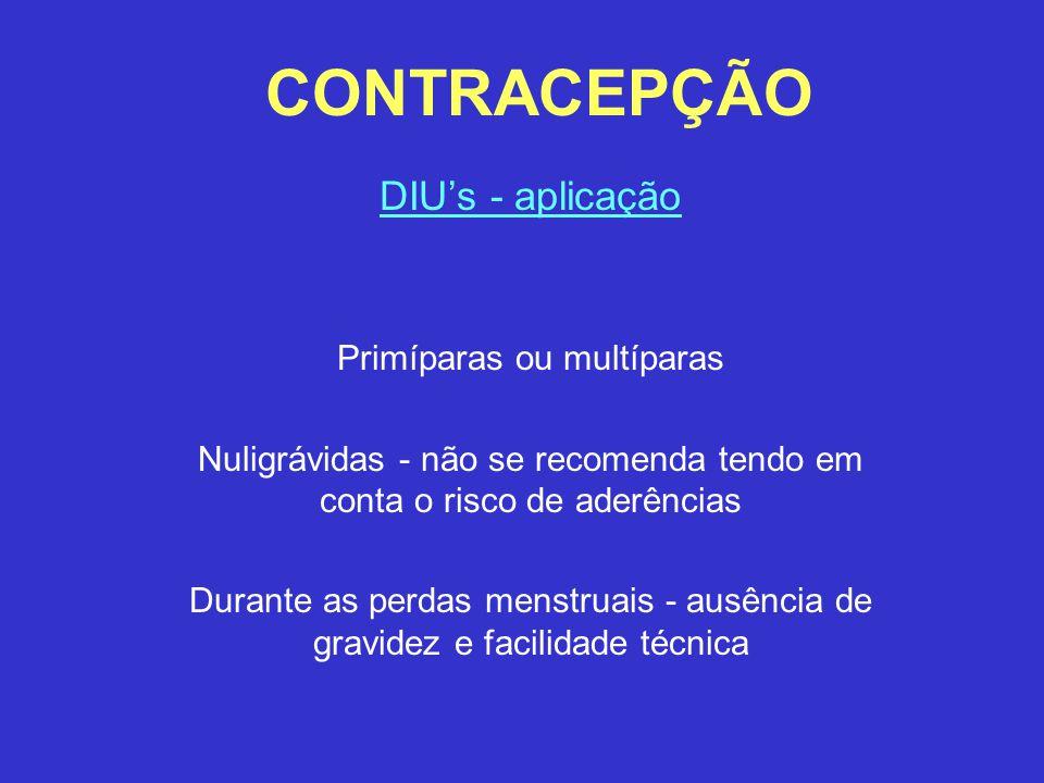 CONTRACEPÇÃO DIU's - aplicação Primíparas ou multíparas