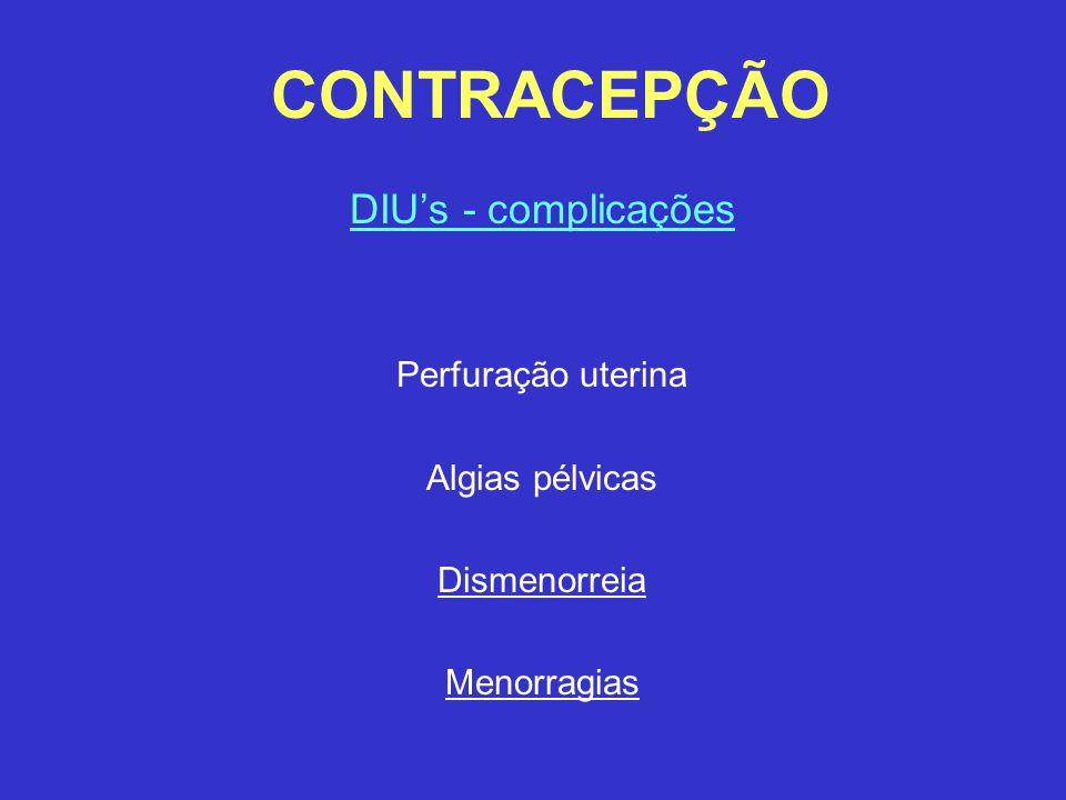 CONTRACEPÇÃO DIU's - complicações Perfuração uterina Algias pélvicas