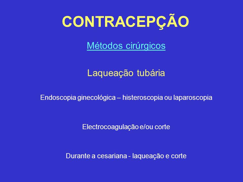 CONTRACEPÇÃO Métodos cirúrgicos Laqueação tubária