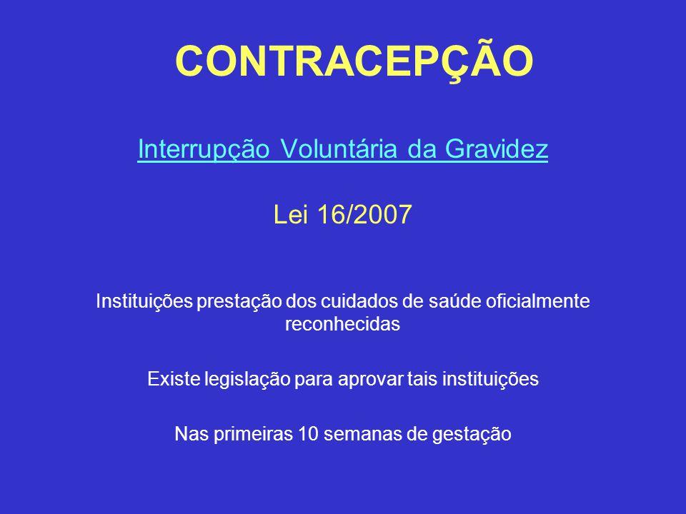 CONTRACEPÇÃO Interrupção Voluntária da Gravidez Lei 16/2007