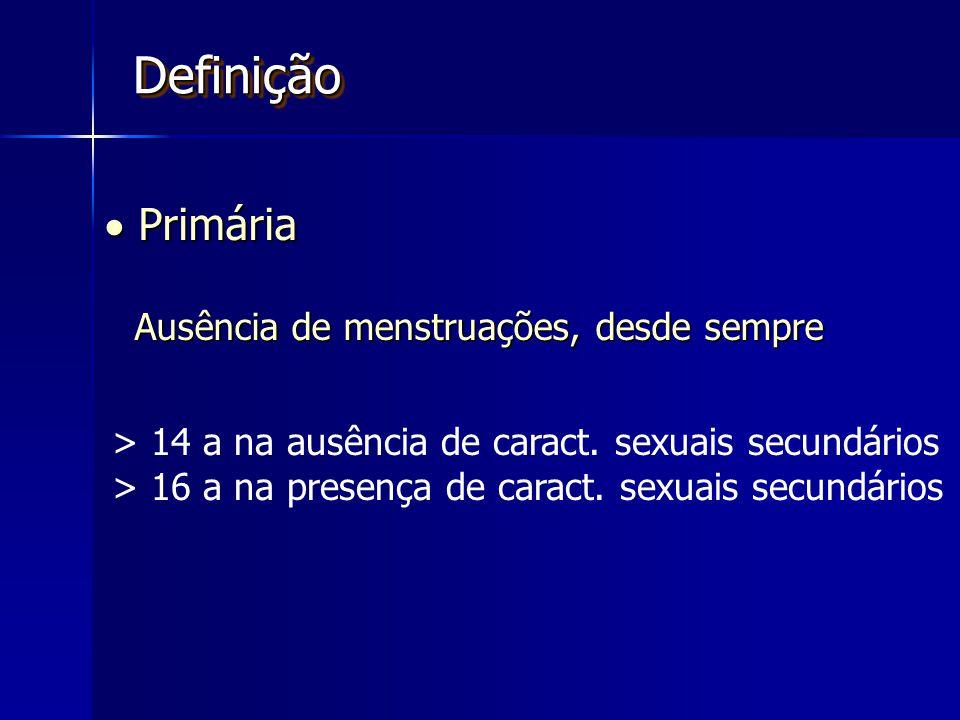 Definição  Primária Ausência de menstruações, desde sempre