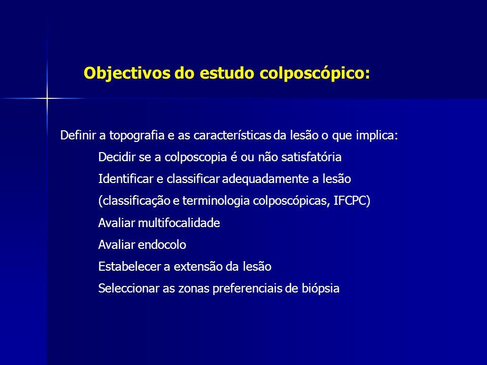 Objectivos do estudo colposcópico: