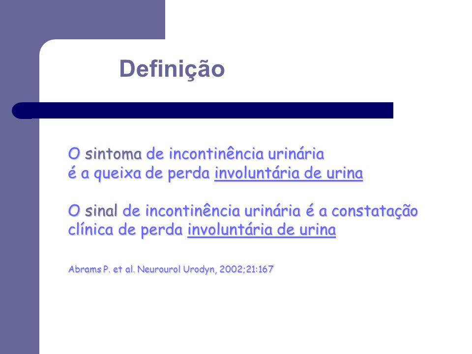 Definição O sintoma de incontinência urinária