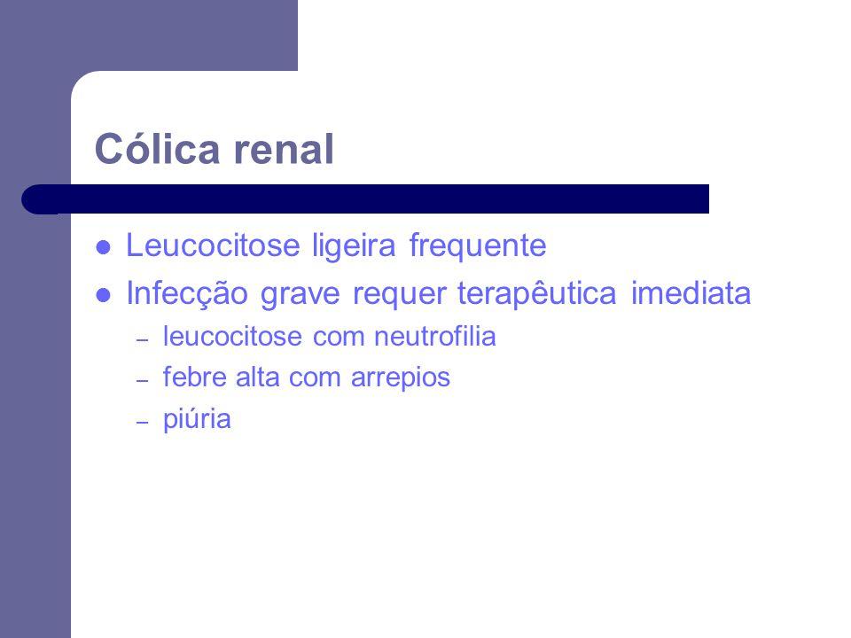 Cólica renal Leucocitose ligeira frequente