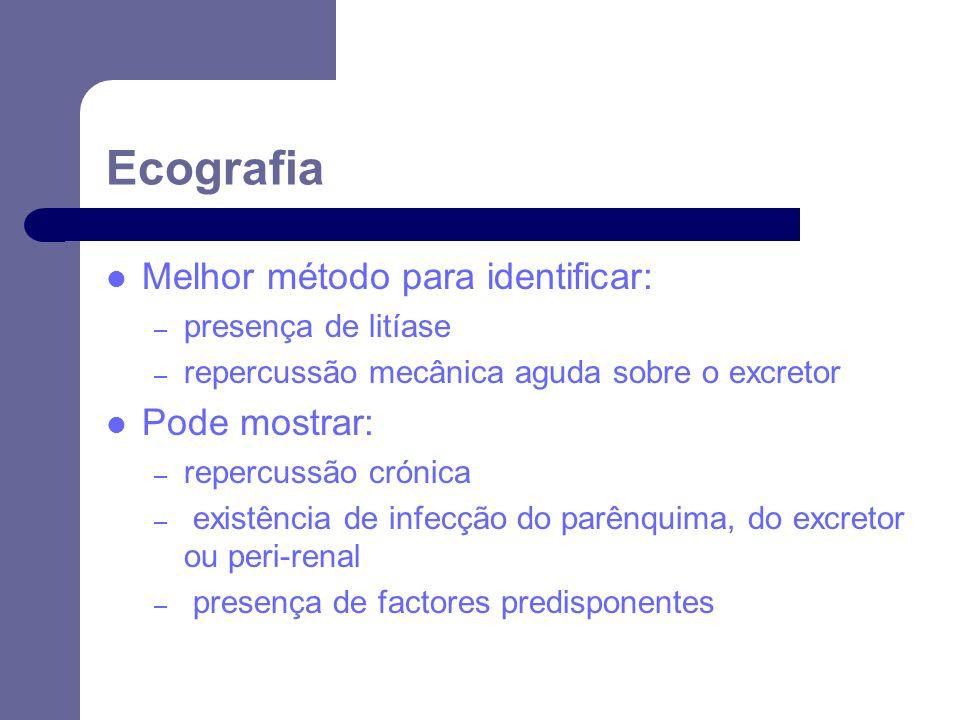 Ecografia Melhor método para identificar: Pode mostrar: