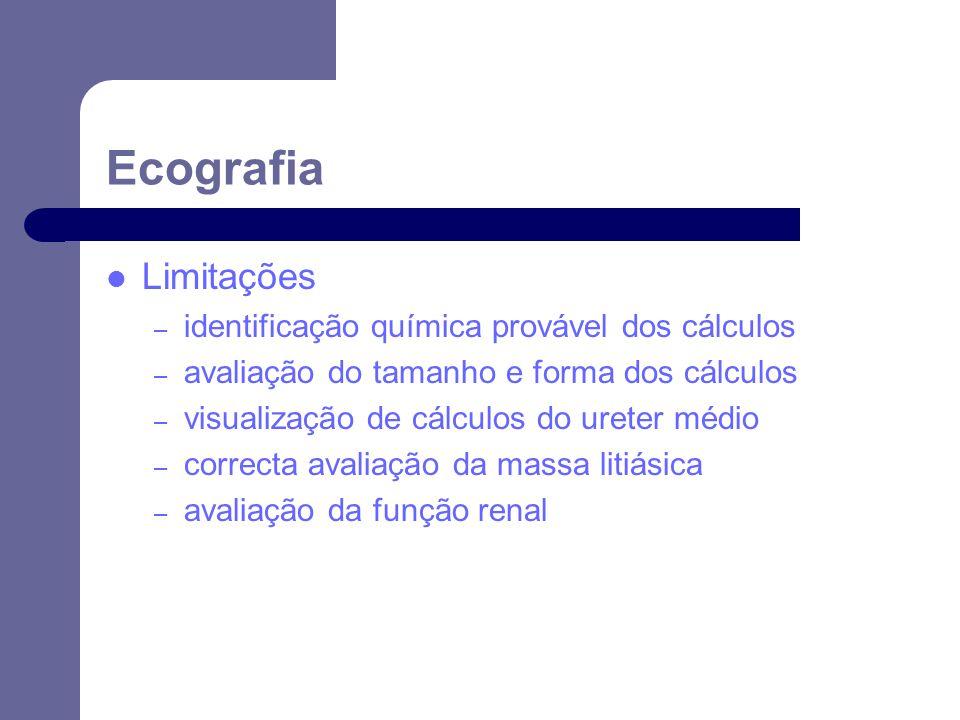 Ecografia Limitações identificação química provável dos cálculos