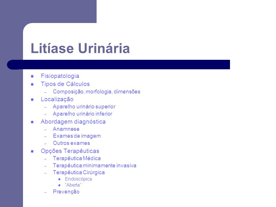 Litíase Urinária Fisiopatologia Tipos de Cálculos Localização