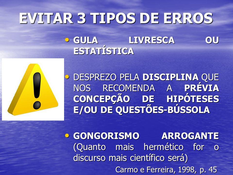 EVITAR 3 TIPOS DE ERROS GULA LIVRESCA OU ESTATÍSTICA