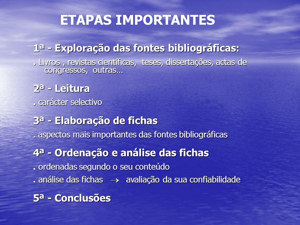 ETAPAS IMPORTANTES 1ª - Exploração das fontes bibliográficas: