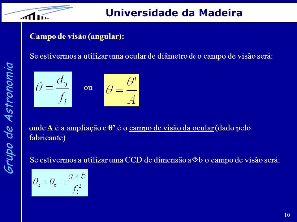 Grupo de Astronomia Universidade da Madeira Campo de visão (angular):