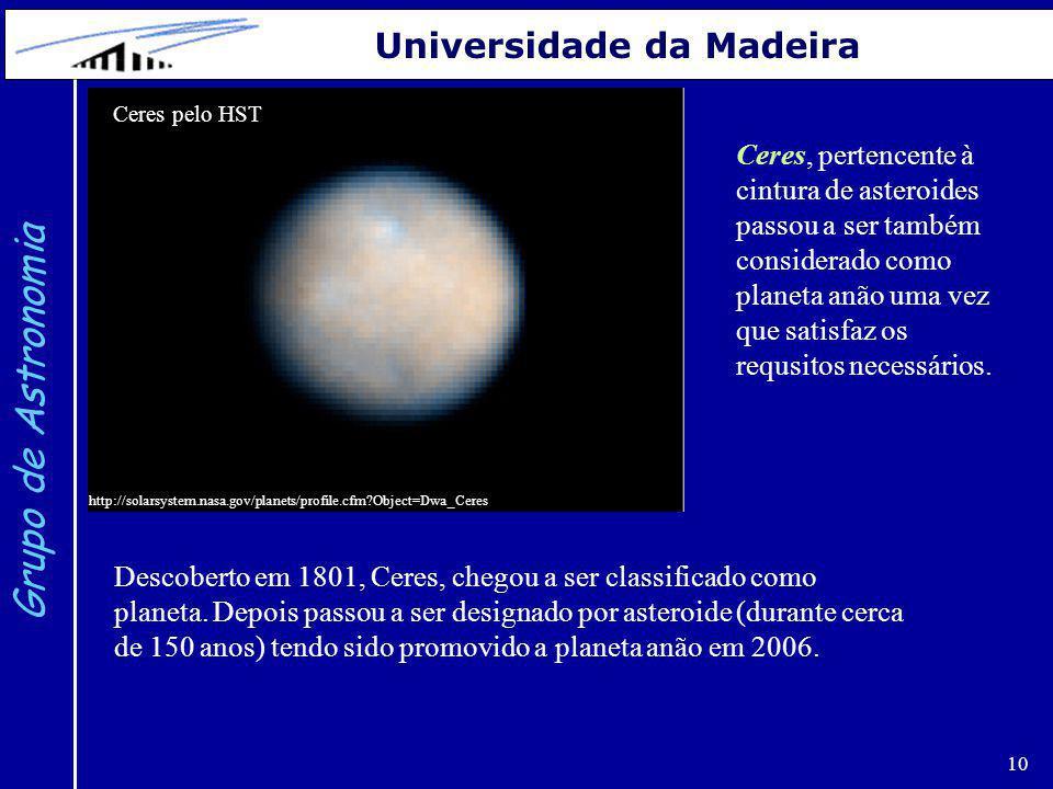 Grupo de Astronomia Universidade da Madeira Ceres pelo HST