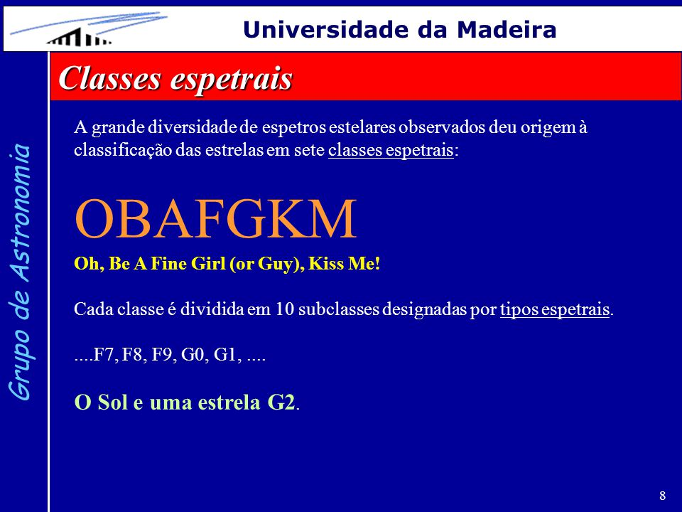 OBAFGKM Classes espetrais Grupo de Astronomia Universidade da Madeira