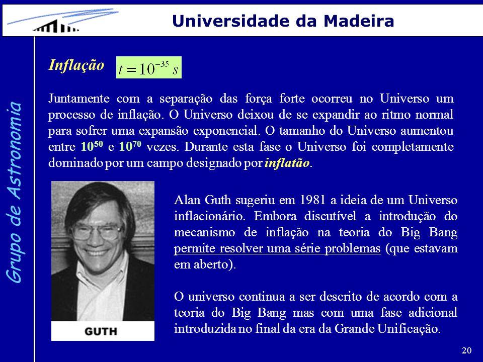 Grupo de Astronomia Universidade da Madeira Inflação