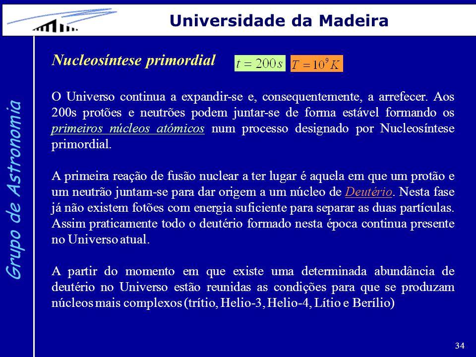 Grupo de Astronomia Universidade da Madeira Nucleosíntese primordial