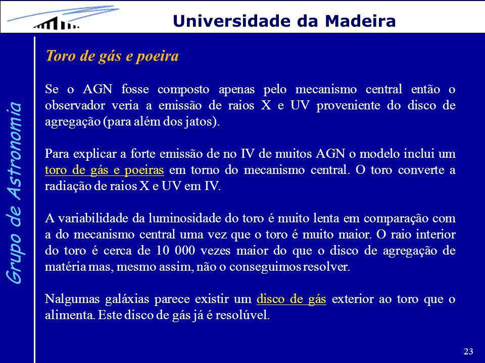 Grupo de Astronomia Universidade da Madeira Toro de gás e poeira