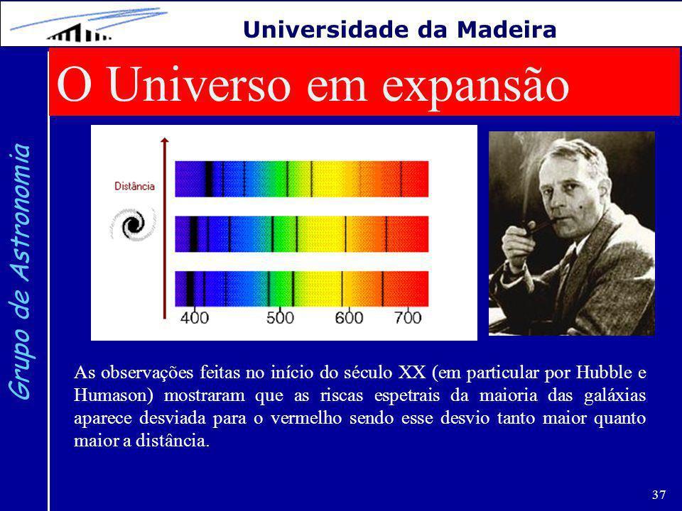 O Universo em expansão Grupo de Astronomia Universidade da Madeira