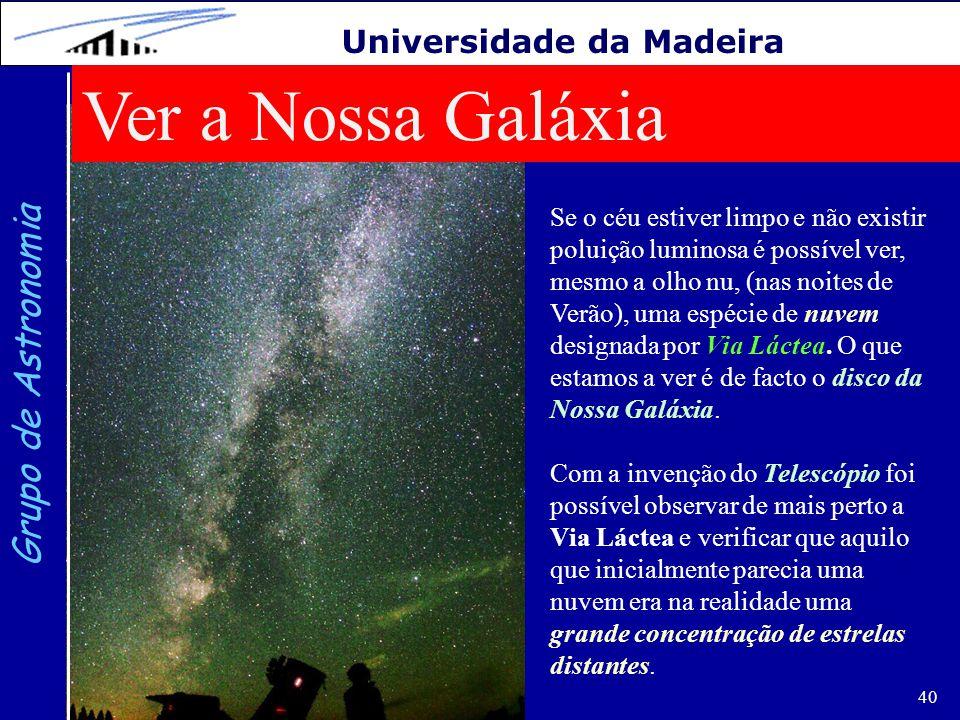 Ver a Nossa Galáxia Grupo de Astronomia Universidade da Madeira