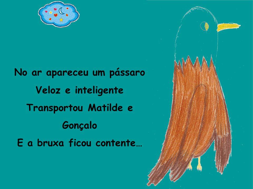 No ar apareceu um pássaro Veloz e inteligente Transportou Matilde e Gonçalo E a bruxa ficou contente…