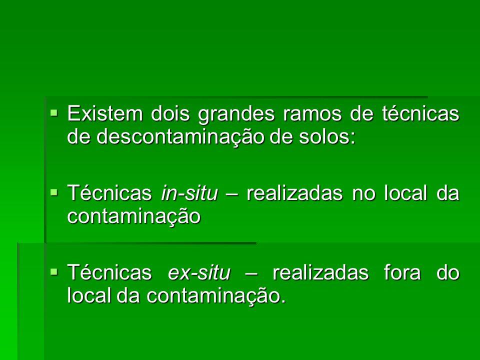 Existem dois grandes ramos de técnicas de descontaminação de solos:
