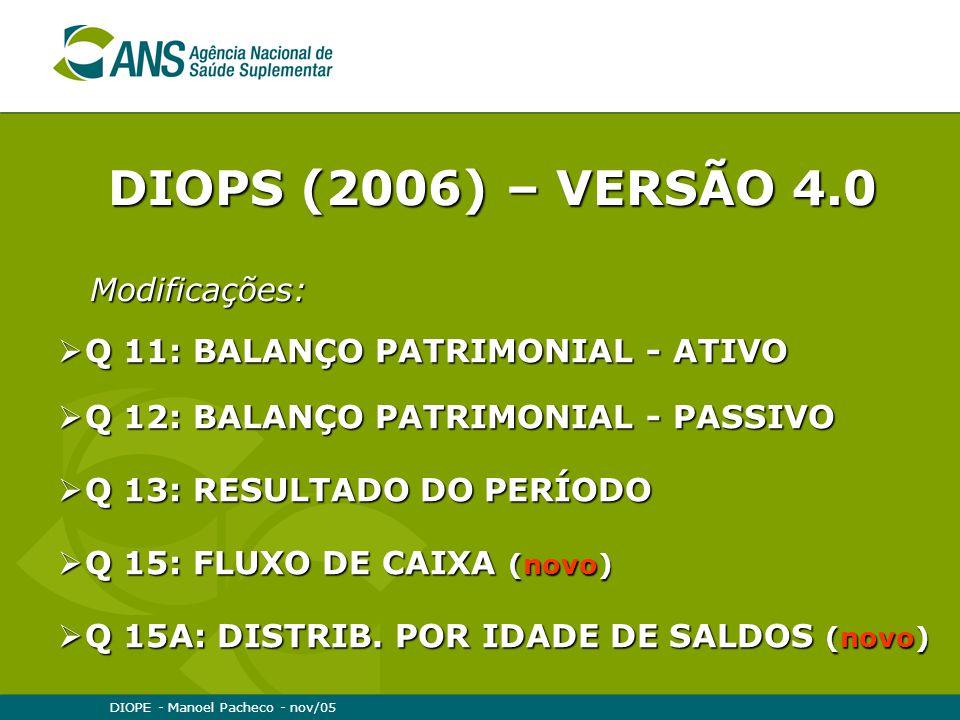 DIOPS (2006) – VERSÃO 4.0 Modificações: