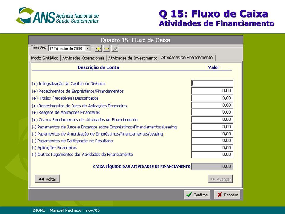 Q 15: Fluxo de Caixa Atividades de Financiamento