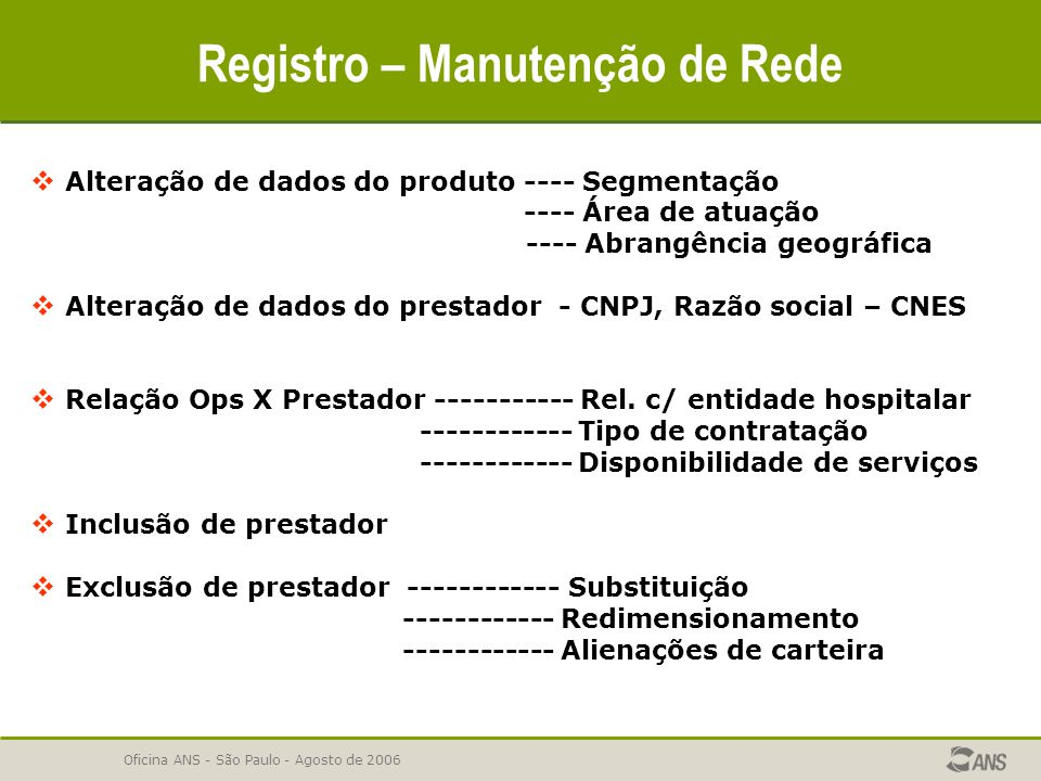 Registro – Manutenção de Rede