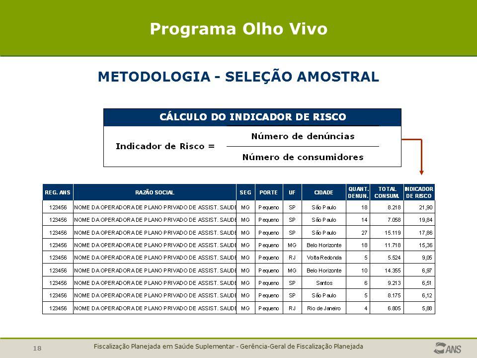 METODOLOGIA - SELEÇÃO AMOSTRAL