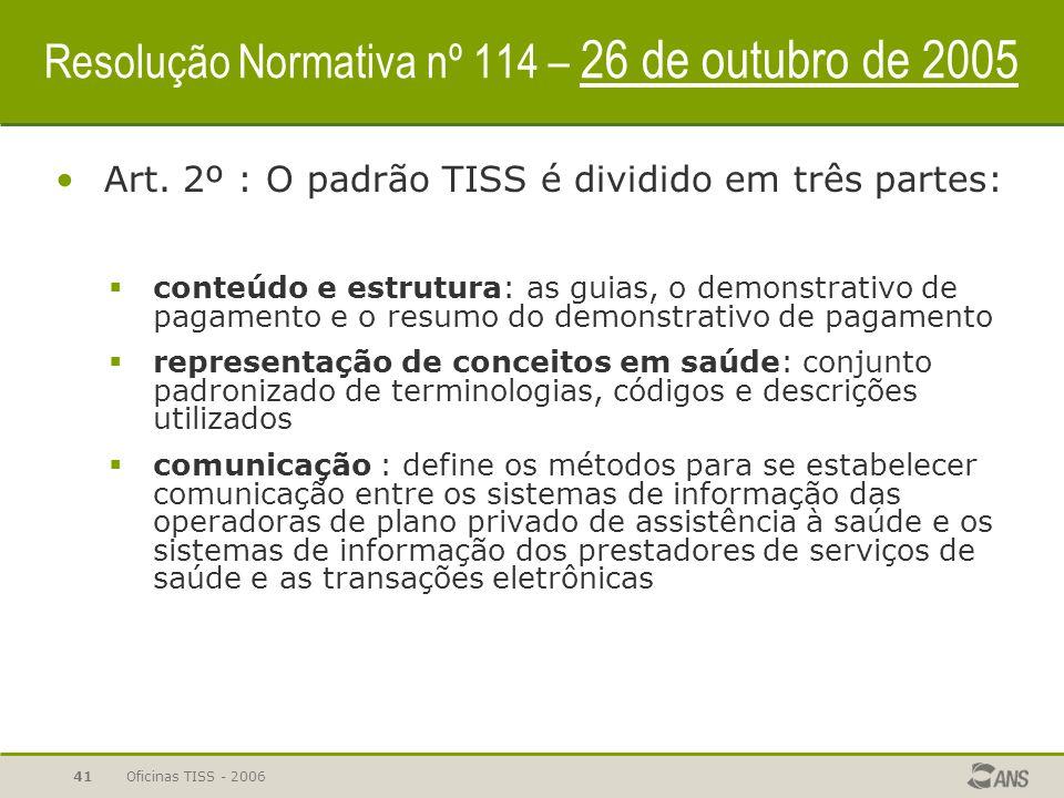 Resolução Normativa nº 114 – 26 de outubro de 2005