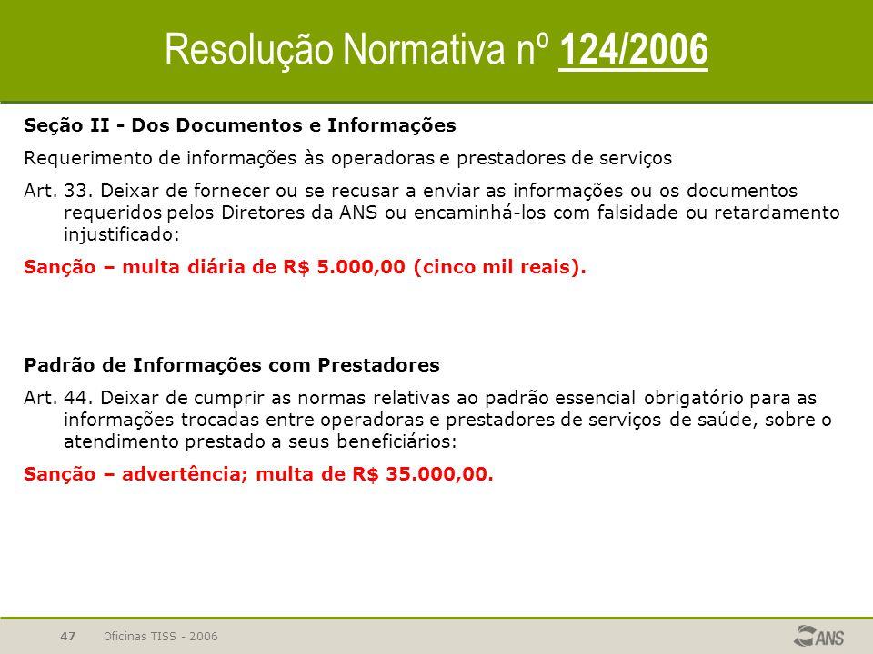 Resolução Normativa nº 124/2006