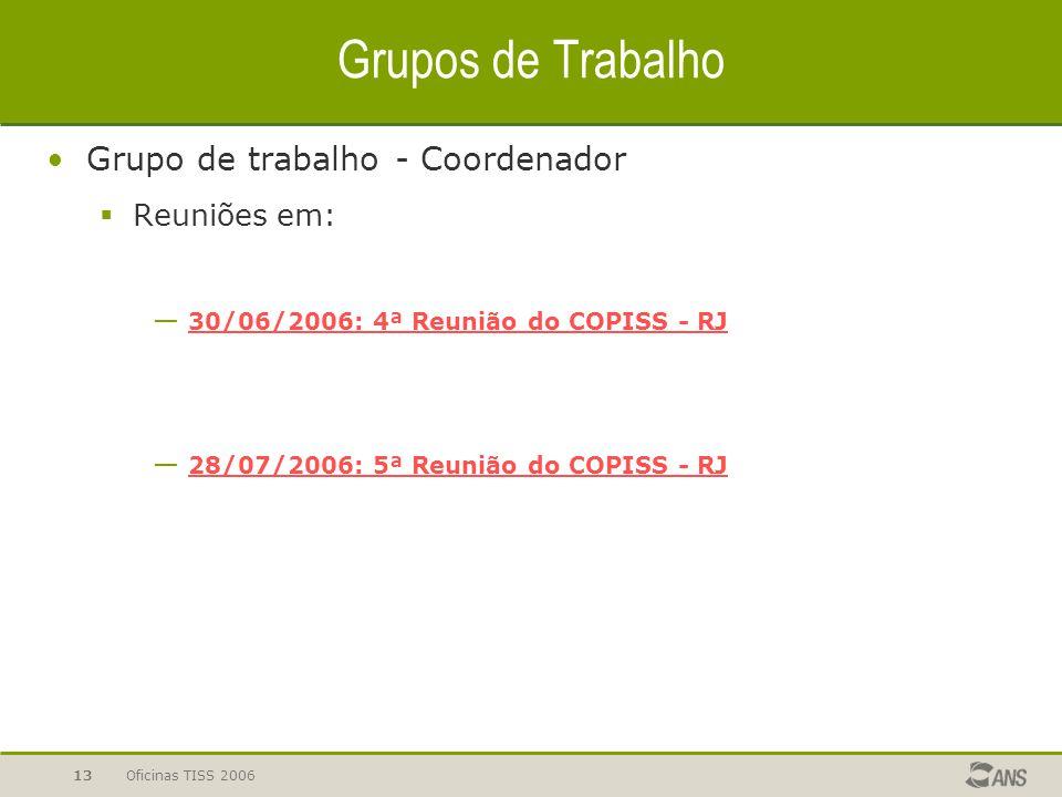 Grupos de Trabalho Grupo de trabalho - Coordenador Reuniões em: