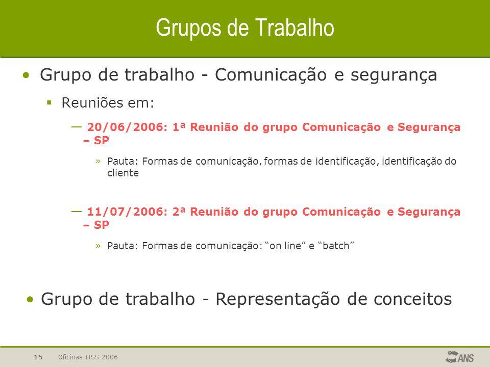 Grupos de Trabalho Grupo de trabalho - Comunicação e segurança