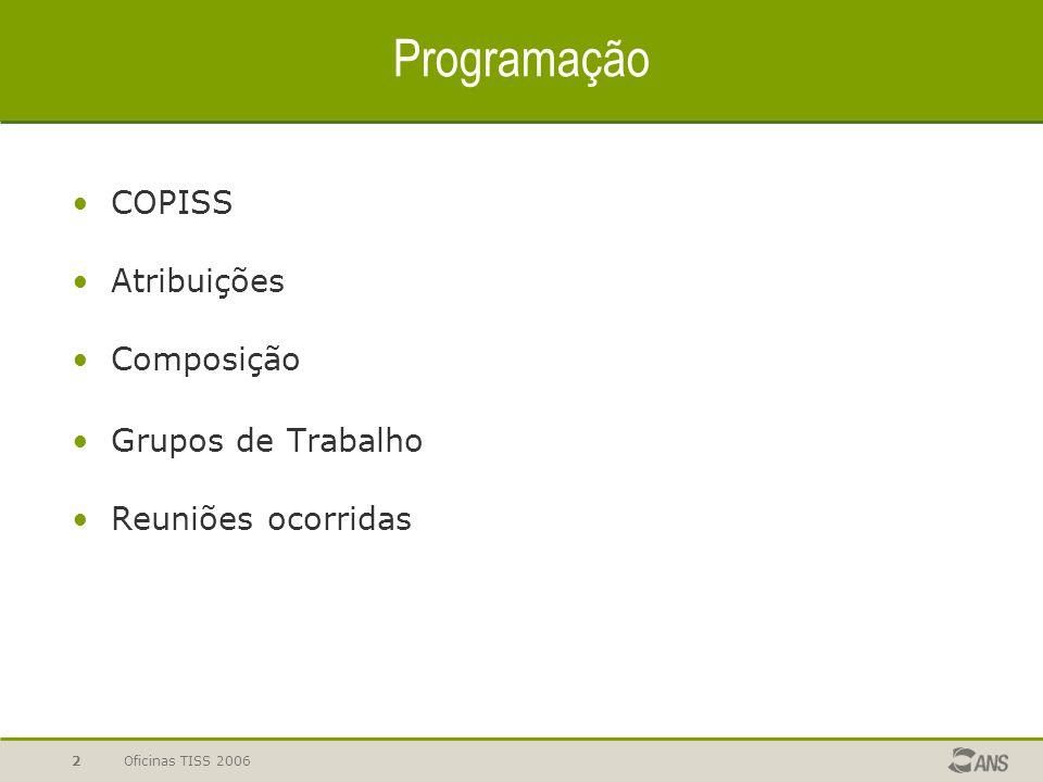 Programação COPISS Atribuições Composição Grupos de Trabalho