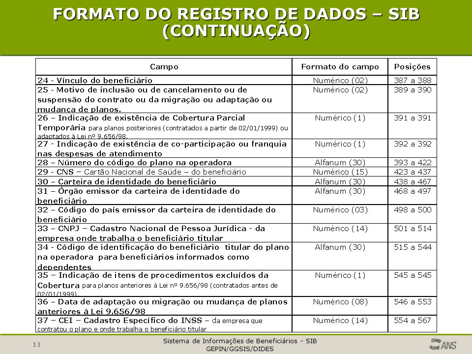FORMATO DO REGISTRO DE DADOS – SIB (CONTINUAÇÃO)