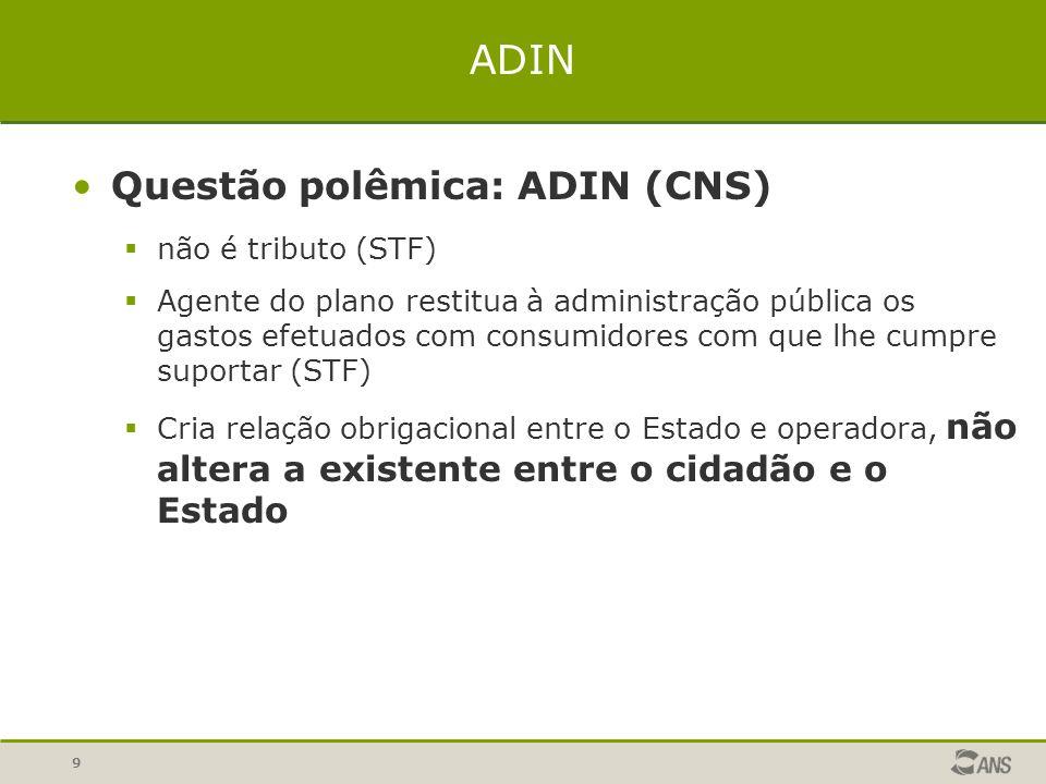 ADIN Questão polêmica: ADIN (CNS) não é tributo (STF)