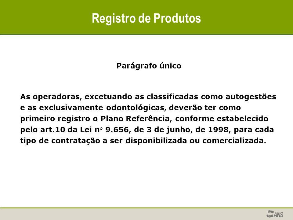 Registro de Produtos Parágrafo único