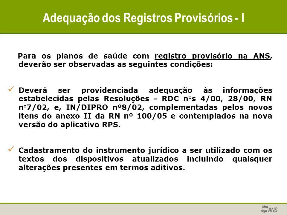 Adequação dos Registros Provisórios - I