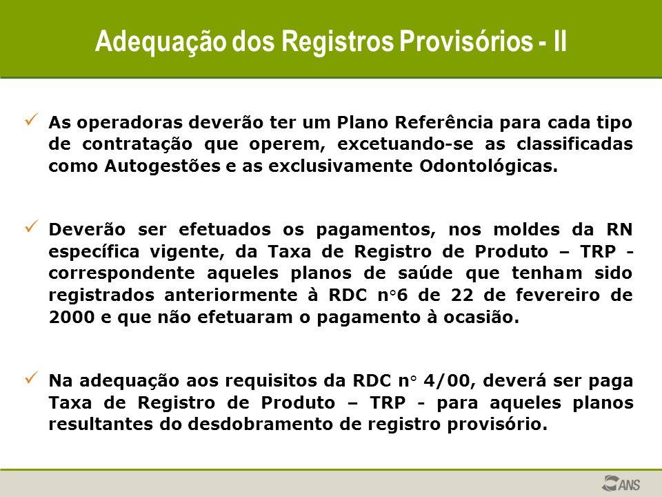 Adequação dos Registros Provisórios - II