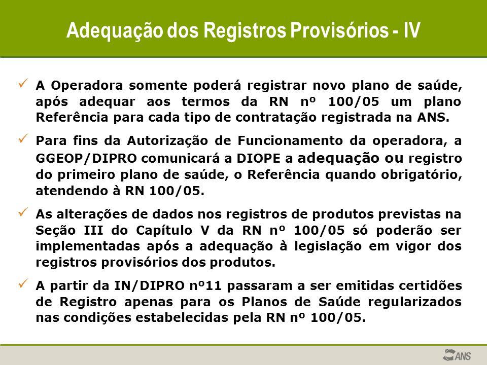 Adequação dos Registros Provisórios - IV