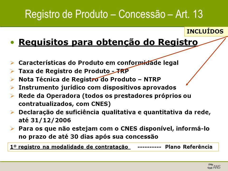 Registro de Produto – Concessão – Art. 13