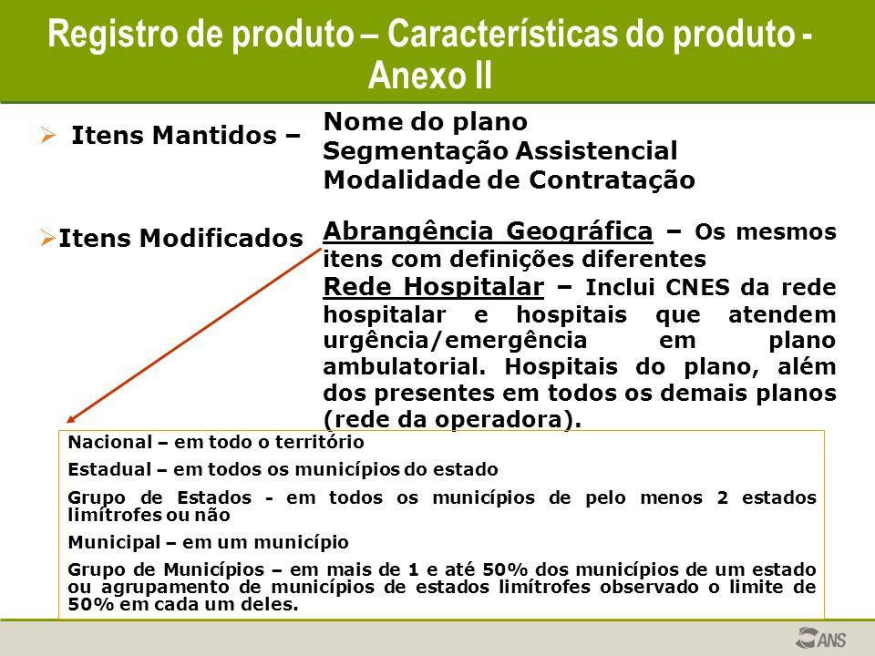 Registro de produto – Características do produto - Anexo II