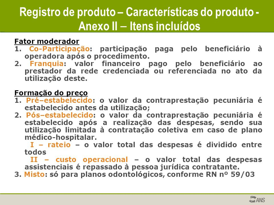 Registro de produto – Características do produto