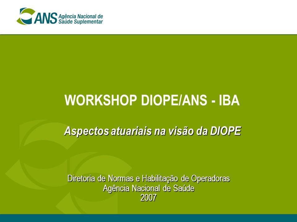 WORKSHOP DIOPE/ANS - IBA Aspectos atuariais na visão da DIOPE