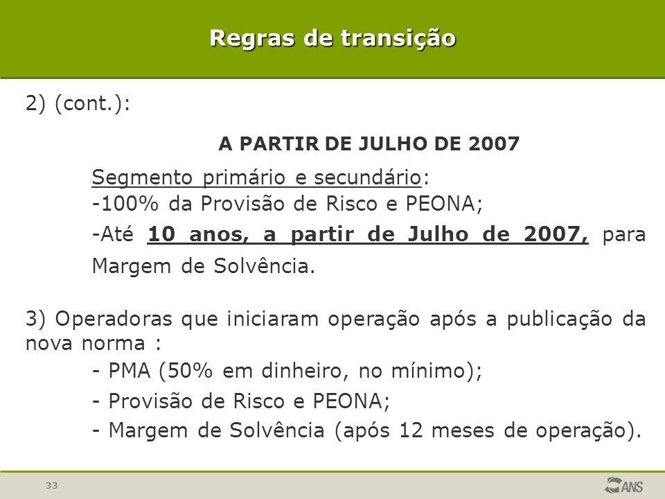Regras de transição 2) (cont.): Segmento primário e secundário:
