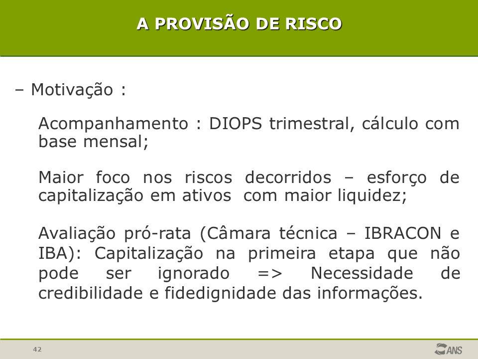 Acompanhamento : DIOPS trimestral, cálculo com base mensal;