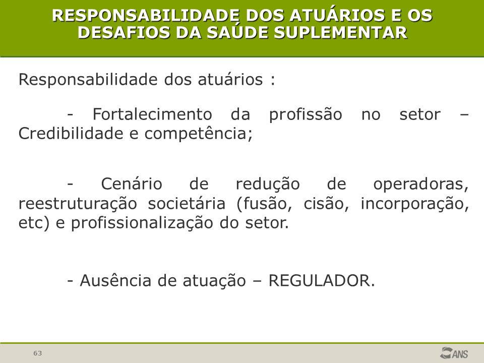 RESPONSABILIDADE DOS ATUÁRIOS E OS DESAFIOS DA SAÚDE SUPLEMENTAR